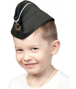 Пилотка ВМФ с кантом черная детская