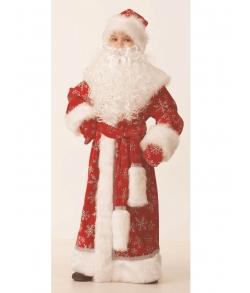 Костюм Дед Мороз (велюр) красный детский