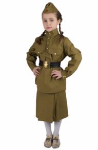 Детская военная гимнастерка с юбкой из саржи