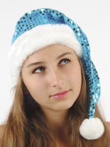 Колпак новогодний из парчи (голубой) арт.109001007