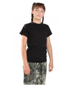 Детская черная однотонная футболка