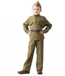 Детский костюм ВОВ солдат в брюках 8-10 лет