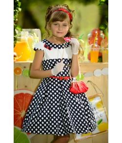 Платье детское Барбара темно-синее в горох