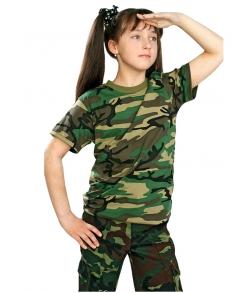 Футболка детская камуфляжная зеленая кмф