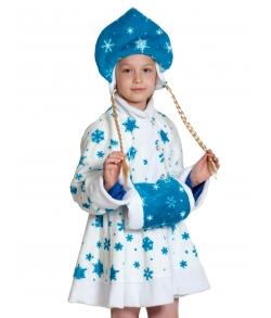Костюм детский Снегурочка белая плюш