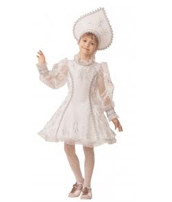 Костюм Снегурочка велюр белая детский