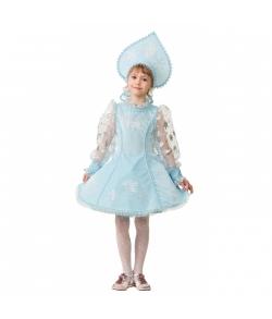 Костюм Снегурочка велюр голубая детский