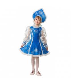 Костюм Снегурочка велюр синий детский
