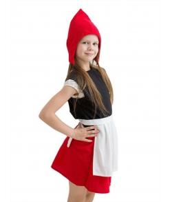 Детский карнавальный костюм - Красная шапочка (шапка, безрукавка, юбка с передником)