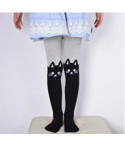Детские колготки для девочек с кошками серо-черные