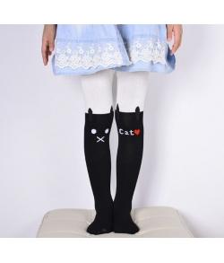 Колготки с кошками на коленях детские бело-черные
