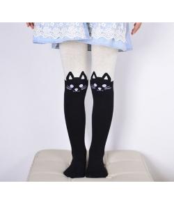 Колготки с кошками на коленках детские бежево-черные
