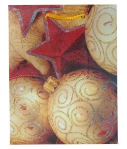 Новогодний пакет с ручками «Шар бежевый»