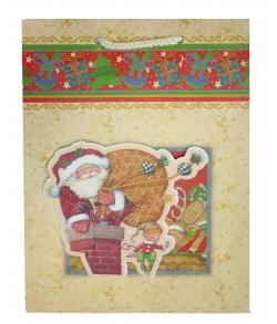 """Подарочный пакет """"Санта Клаус с мешком"""""""