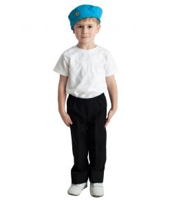 Детский военный голубой берет