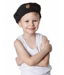 Детский военный черный берет