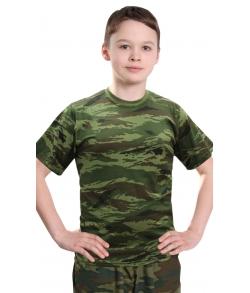 Футболка детская камуфляжная зеленый камыш