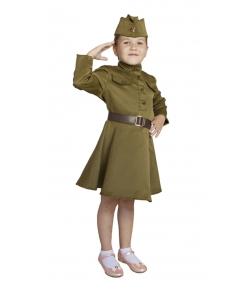 Военная форма ВОВ с платьем для девочки 3-5 лет