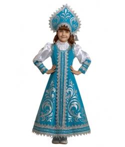 Детский костюм снегурочки с кокошником